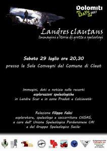 Landres Clautans: serata di Filippo Felici il 29 luglio alle 20:30 presso la Sala Convegni del Comune di Claut